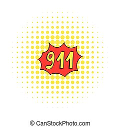 urgence, 911, icône, comiques, style