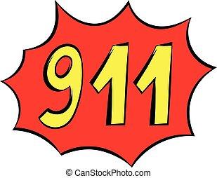 urgence, 911, icône, icône, dessin animé