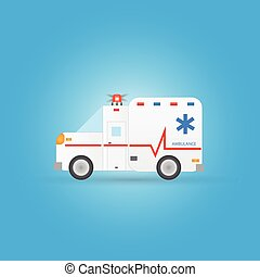 urgence, ambulance, illustration