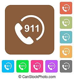 urgence, arrondi, carrée, icônes, 911, plat, appeler