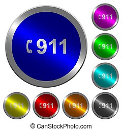 urgence, couleur, boutons, appeler, coin-like, lumineux, 911, rond