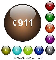 urgence, couleur, boutons, verre, appeler 911