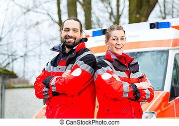 urgence, docteur, devant, ambulance, voiture