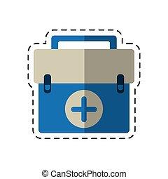 urgence, kit, équipement, aide, dessin animé, premier