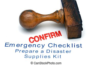 urgence, liste contrôle, -, confirmer