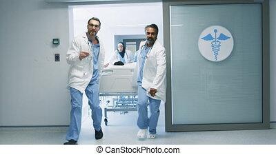 urgence, médecins hôpital, patient, 4k, lit, courant