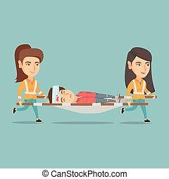 urgence, médecins, porter, femme, sur, stretcher.