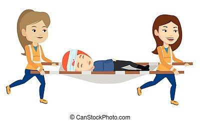 urgence, médecins, porter, homme, sur, stretcher.