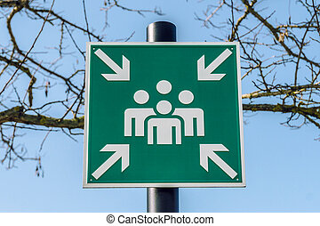 urgence, montage, point, vert, signe