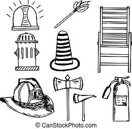 urgence, pompier, ensemble, griffonnage