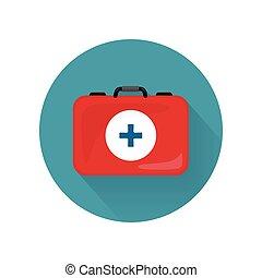 urgence, réaliste, isolated., kit médical, sac, icône