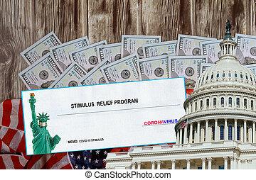 urgence, recevoir, global, américains, sénat, gouvernement, paquet, stimulus, lockdown, covid-19, soulagement, mot, assistance financière, pandémie