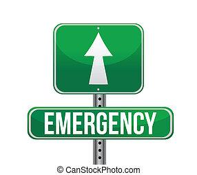 urgence, route, illustration, signe