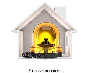 urgence, sirène, intérieur, maison, section transversale