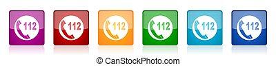 urgence, toile, lustré, ensemble, options, applications, vecteur, appeler, icône, 6, illustrations, coloré, conception, carrée, mobile