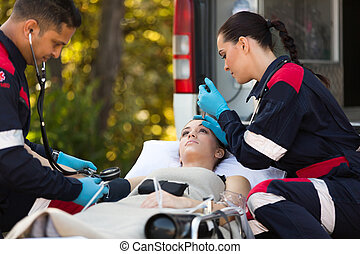 urgence, vérification, monde médical, techniciens, malades, signes vitaux