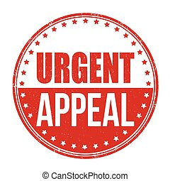 Urgent appeal grunge rubber stamp on white background, vector illustration