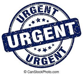 urgent blue grunge round vintage rubber stamp