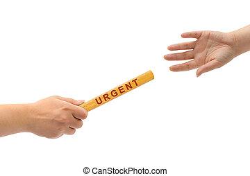 urgent, course, relais, mains