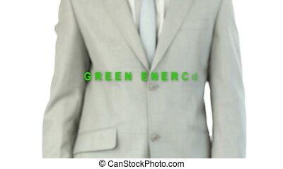 urgent, ener, vert, homme affaires