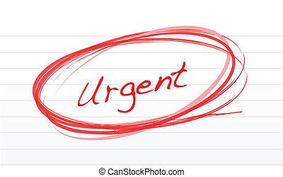 urgent, entouré, rouges, encre, blanc