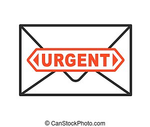 Urgent envelope icon with important letter
