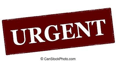 Urgent - Stamp with word urgent inside, vector illustration