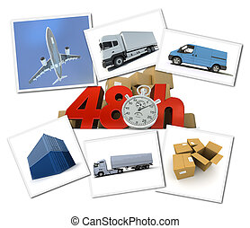 Urgent freight transportation - Collage of images related to...