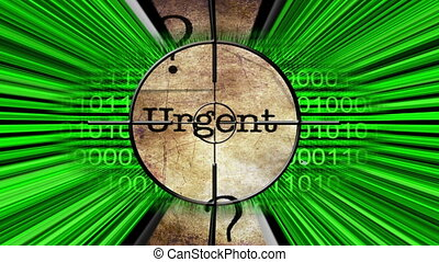 Urgent grunge text on target concept