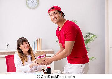 urgent, hôpital, paquet, courrier, livrer