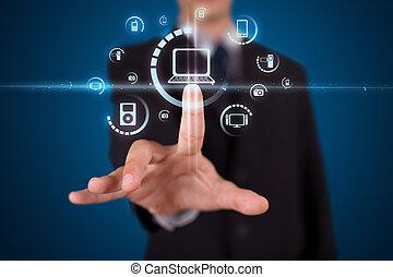 urgent, homme affaires, boutons, virtuel, média, type