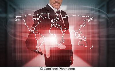 urgent, homme affaires, mondiale, rouges, carte
