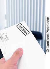 urgent letter, business concept of processing mails