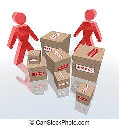 urgent, paquets, livrer