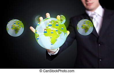 urgent, réseau, social, icône, main