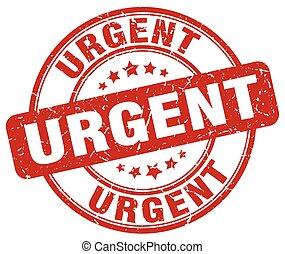 urgent red grunge round vintage rubber stamp