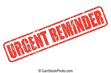 URGENT REMINDER red stamp