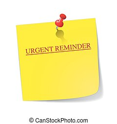 Urgent Reminder Sticky Note With Pin