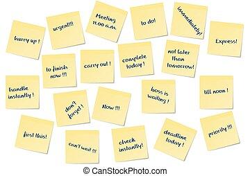 urgent reminders - different urgent paper memo notes vector...