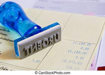 urgent stamp on cash receipt