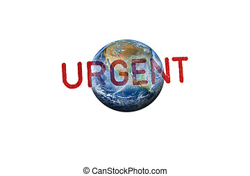 URGENT stamp on the earth, Elements of this image furnished by NASA