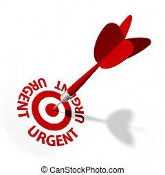 Urgent Target - Target and dart with circular text.