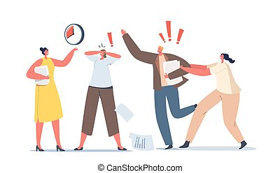 Urgent Work Concept. Anxious Business Characters in Chaos Office. Deadline, Running Stressed Workers Hurry Up with Job