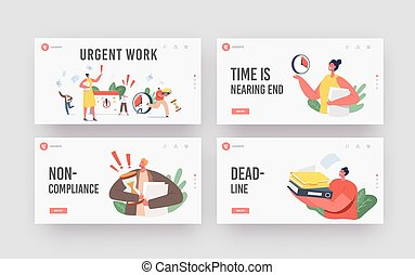 Urgent Work, Deadline Landing Page Template Set. Anxious Tiny Business Characters in Chaos Office Workplace