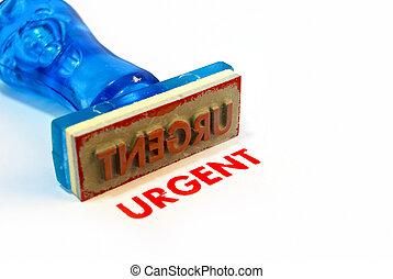 urgente, azul, sello de goma