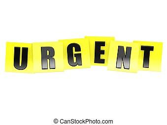 urgente, em, nota amarela