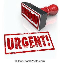 urgente, estampilla, palabra, inmediato, emergencia, acción,...