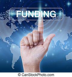 urgente, finanziamento, mano, button., parola