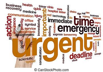 urgente, palabra, nube, concepto