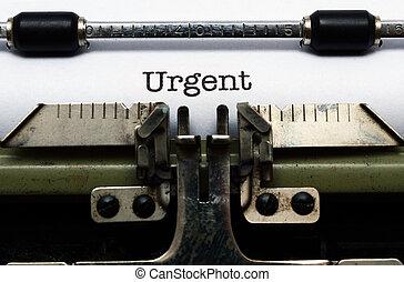 urgente, texto, máquina de escribir